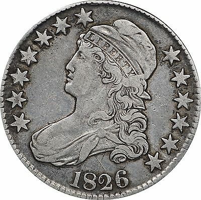 1826 Capped Bust Half Dollar, VF Details, Cleaned