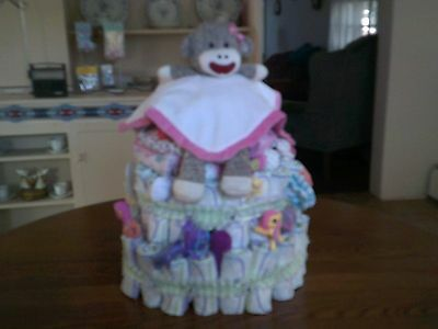 3 Tier Diaper Cake for Girl or Boy Made to Order ( 50 + Pampers )