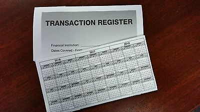 5 - High Quality Transaction Registers 2016-18 Checkbook Checking Account Bank