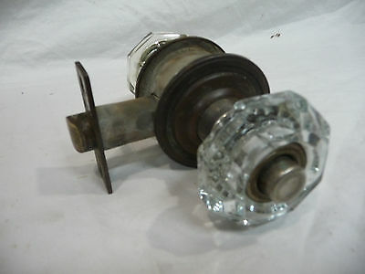 Antique Craftsman Style Crystal Door Knob Lockset- C. 1915 Architectural Salvage