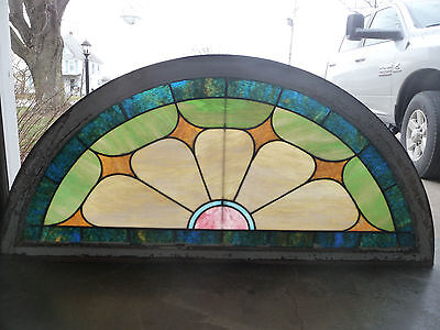 Antique Round Top Church Stained Glass Window - C. 1915 Architectural Salvage