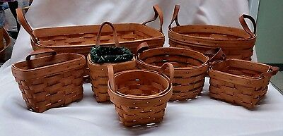 7 Longaberger Baskets with Leather Handles