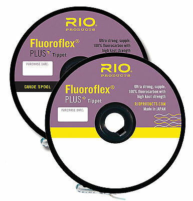 RIO Fluoroflex Plus Tippet Spools 100% Invisible Fluorocarbon Water Fly Fishing