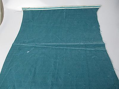 Antique velvet fabric remnant France Victorian cotton silk teal Piece