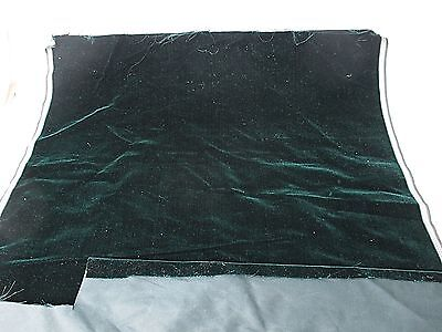 Antique velvet fabric remnant France Victorian cotton silk Dark green Piece