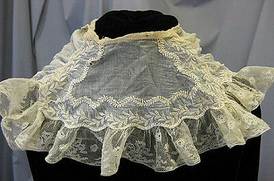 Antique Victorian Pelerine lace collar Civil War era B1287