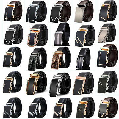Fashion Luxury Mens Automatic Metal Buckle Leather Belt Waist Strap Waistband