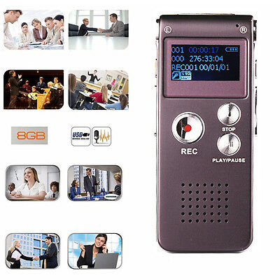 Rechargeable 8GB Portable Digital Sound Voice Recorder Dictaphone MP3 Player