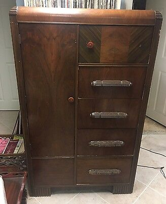 Antique Vintage 1940s Art Deco Mahogany Tall Chest Dresser Wardrobe