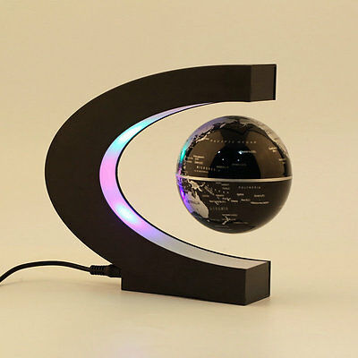 C shape LED World Map Decoration Magnetic Levitation Floating Globe Light AU