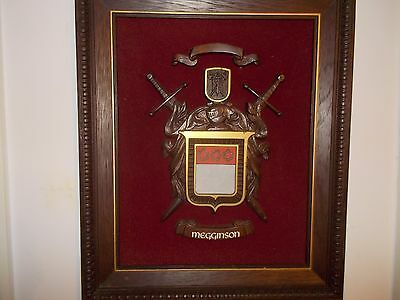 Vtg Coat Of Arms Framed Picture Personalized Megginson Wall Art Plaque Wall