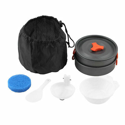 8pcs Outdoor Camping Hiking Cookware Backpacking Cooking Picnic Pan Set AU
