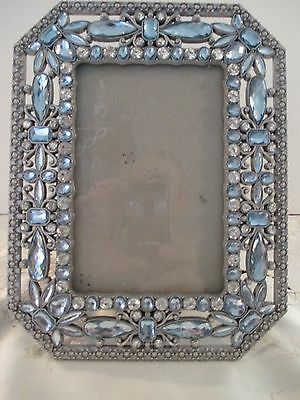 Beautiful Picture Frame With Faux Blue Jewels
