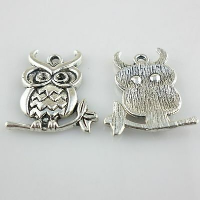 20/160pcs Antique Silver Hanging on a Tree branch Owl Pendants Craft DIY Making
