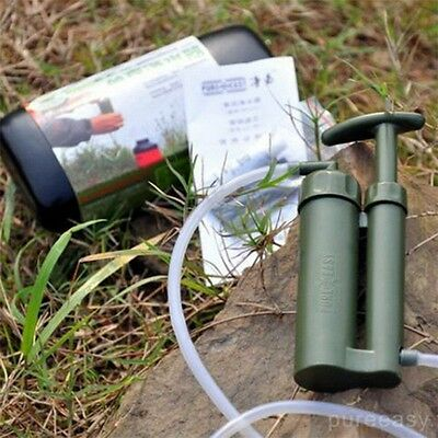 Portable Outdoor Water Filter Purify Pump Outdoor Survival Hiking Camping AU