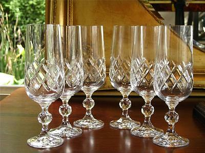 Elegant set of 6 BOHEMIA crystal Bristol Champagne Flutes. New