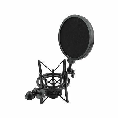 Microphone Shock Mount Stand Holder with Integrated Pop Filter Black Kit AU