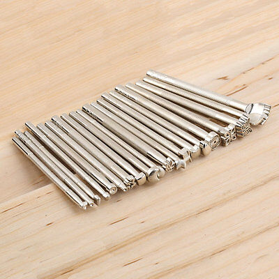 20pcs/Set Leather Working Saddle Making Tools Carving Leather Craft Stamps AU