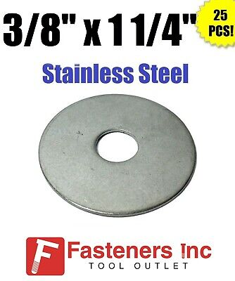 """(Qty 25) 3/8"""" x 1 1/4"""" OD Stainless Steel Fender Washers Type 304"""