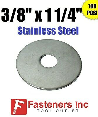 """(Qty 100) 3/8"""" x 1 1/4"""" OD Stainless Steel Fender Washers Type 304"""