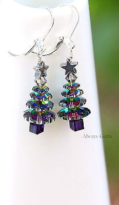 Christmas Tree w Swarovski Crystals and Silver Hematite Star Leverback earrings