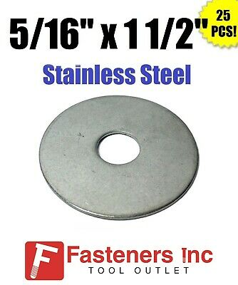 "(Qty 25) 5/16"" x 1 1/2"" OD Stainless Steel Fender Washers Type 304"
