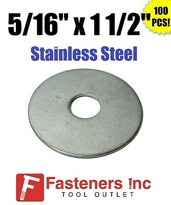 "(Qty 100) 5/16"" x 1 1/2"" OD Stainless Steel Fender Washers Type 304"