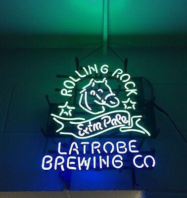 "24""X20"" ROLLING ROCK EXTRA PALE 33 Latrobe PA Pony Brewing Co. Neon Light Sign"