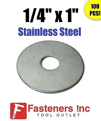 """(Qty 100) 1/4"""" x 1"""" OD Stainless Steel Fender Washers Type 304"""