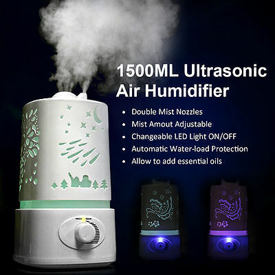 1.5L Ultrasonic Home Aroma Humidifier Air Diffuser Purifier Lonizer Atomizer AU