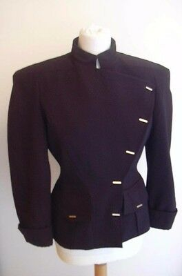 Thierry Mugler Strong Shoulders Gold Hardware Jacket 1989-90 Collection Sz. 36