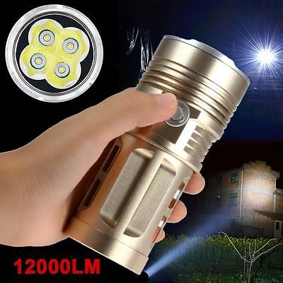 4 LED 12000 LM CREE XML T6 lampe de poche 18650 Ultra lumineux Chasse Lamp Or ED