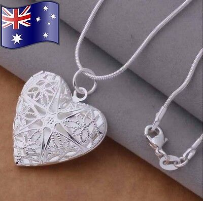 Stunning 925 Sterling Silver Classic Star Heart Pendant Charm Locket Necklace
