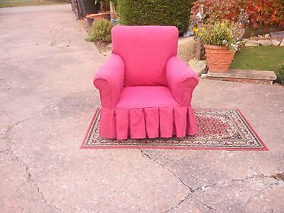 Chair:Quality made solid oak framed old high backed armchair on wheels (REDUCED)