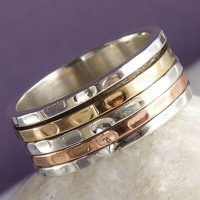 US 10 1/2 ~Narrow SilverSari Recessed 3-Tone 3-SPIN Spinner Ring Sterling Silver