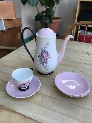 Queen Anne Fair Lady Coffee Pot, 4 Saucers And 1 Cup