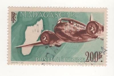 1946 MADAGASCAR ( French Colony ) 200f  Brown & Green Aeroplane & Map USED
