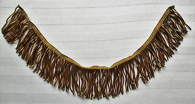 "Vintage Gold Metallic Bullion Fringe Coiled Strands 16"" x 2 3/4""  French"
