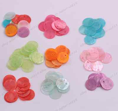 50pcs Mix Color 13-18MM Flat Round Mother Of Pearl Shell Coin Drop Charm Beads