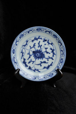 Antique Chinese Blue & White Plate Marked