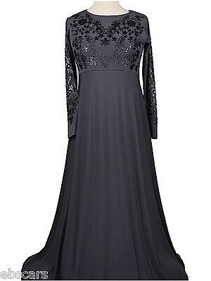 Grey New Embellished Abaya Maxi Dress Gown Evening, casual Wear Jilbab Jabbha