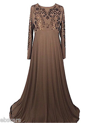 Beige New Embellished Abaya Maxi Dress Gown Evening, casual Wear Jilbab Jabbha