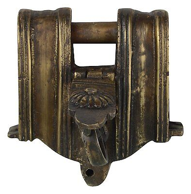 Solid Brass Vintage Antique Lock Rare Engravings Tricky Lock