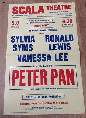 SYLVIA SYMS ronald lewis in PETER PAN poster SCALA THEATRE