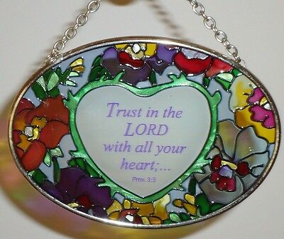 Stained Glass Suncatcher TRUST IN THE LORD WITH ALL YOUR HEART...Proverbs 3:5