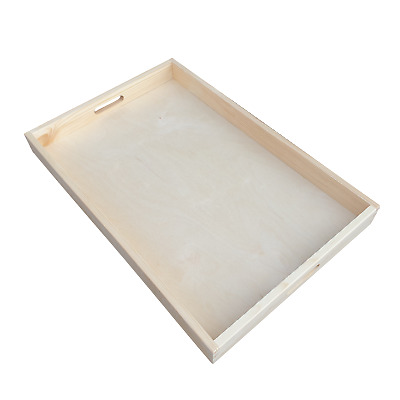 Plain Wood - Wooden Serving Very Large Tray 50cmx36cmx 6cm Decoupage