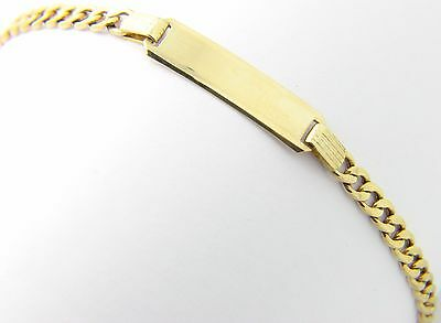 """9ct 9Carat Yellow Gold Curb Linked Indentity Plain Engraveable ID 7"""" Bracelet"""