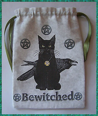Grey Bewitched Black Cat Tarot card bag, ideal for fairy angel & Wicca tarot