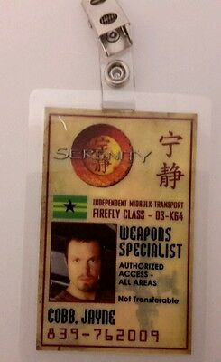 Serenity/Firefly ID Badge - Weapons Specialist Jayne Cobb cosplay costume prop