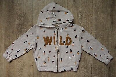 ZARA Girls 4 years Gold 'WILD' Triangle Zip-up Jumper Hoodie (3)